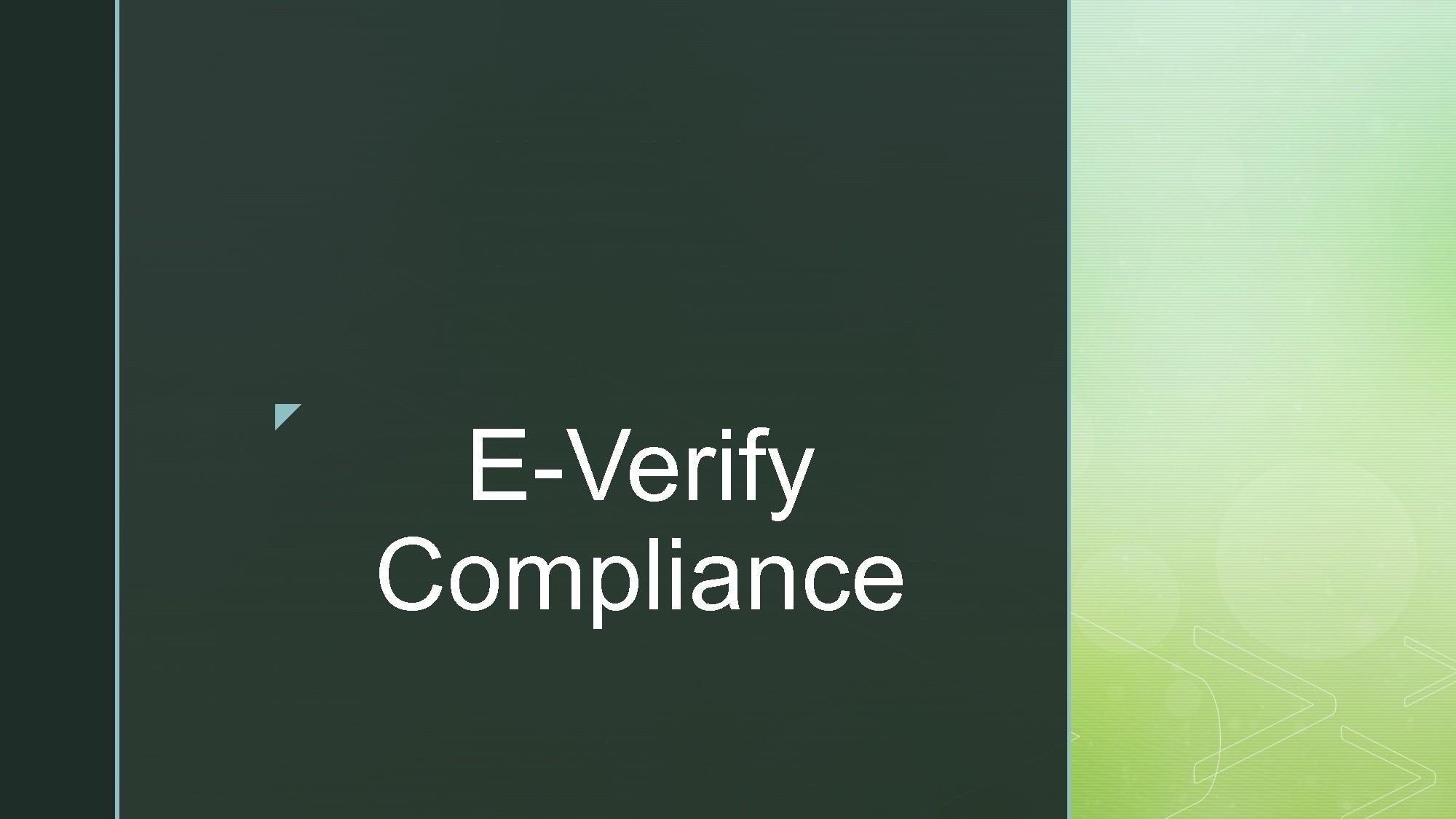 E-Verify Compliance