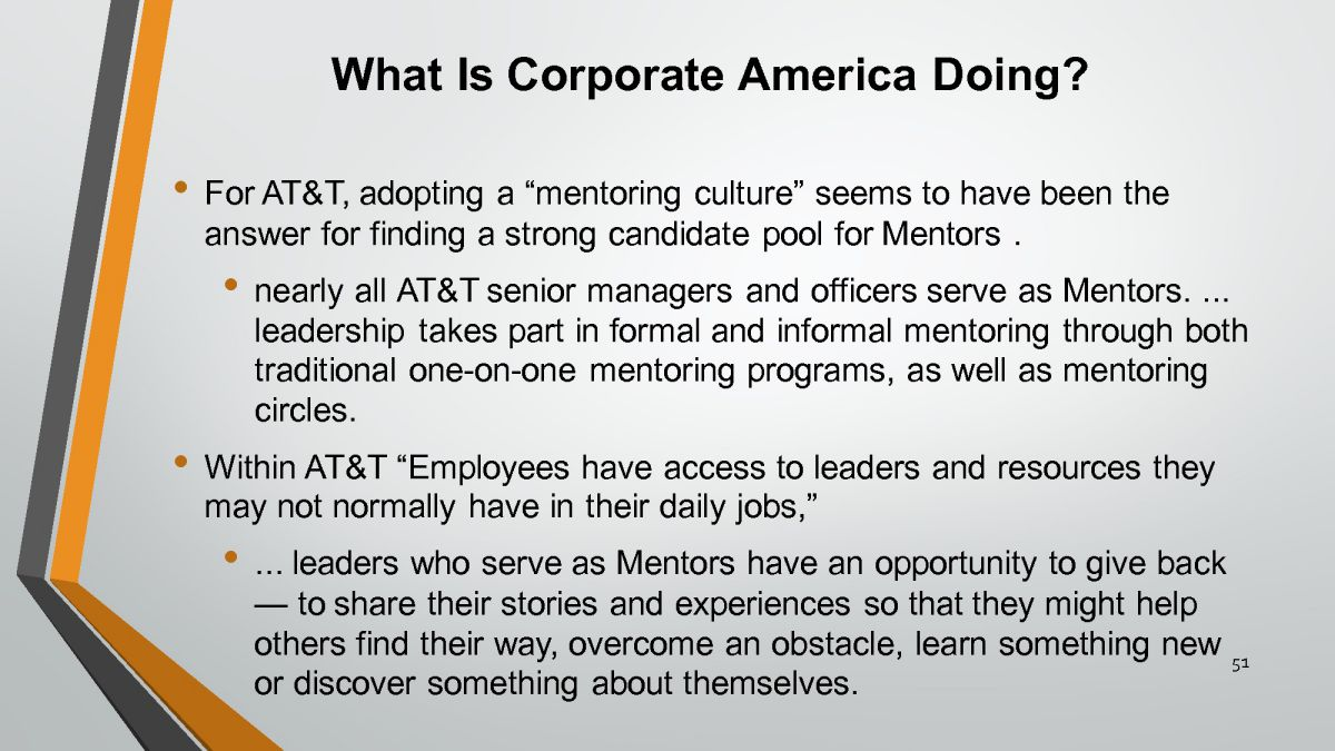 mentoring in the workplace In the workplace, there are typically several key players involved in a mentoring program the mentor is the guide with the experience, skills or knowledge in a.